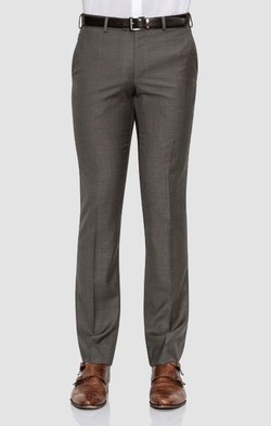 a front view of a model wearing the cambridge jett trouser in brown poly wool blend F2042 BROWN.