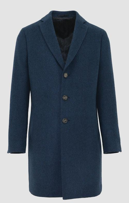 a front on view of the daniel hechter slim fit chicago mens coat in blue wool blend DH626-11 showing the single breasted peak lapel collar