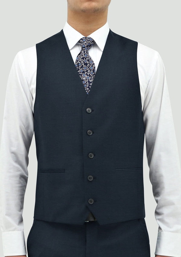 a front view of the daniel hechter slim fit ryan mens suit vest in deep blue merino wool STDH106-14