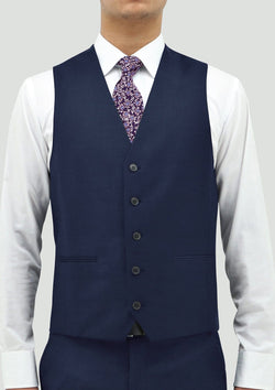 the front view of the Daniel Hechter slim fit ryan vest in blue pure wool DH106-15