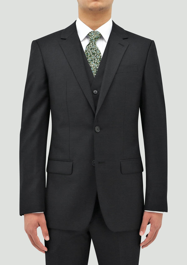 daniel hechter slim fit ryan mens suit vest in charcoal pure wool layered under the shape suit jacket STDH106-02