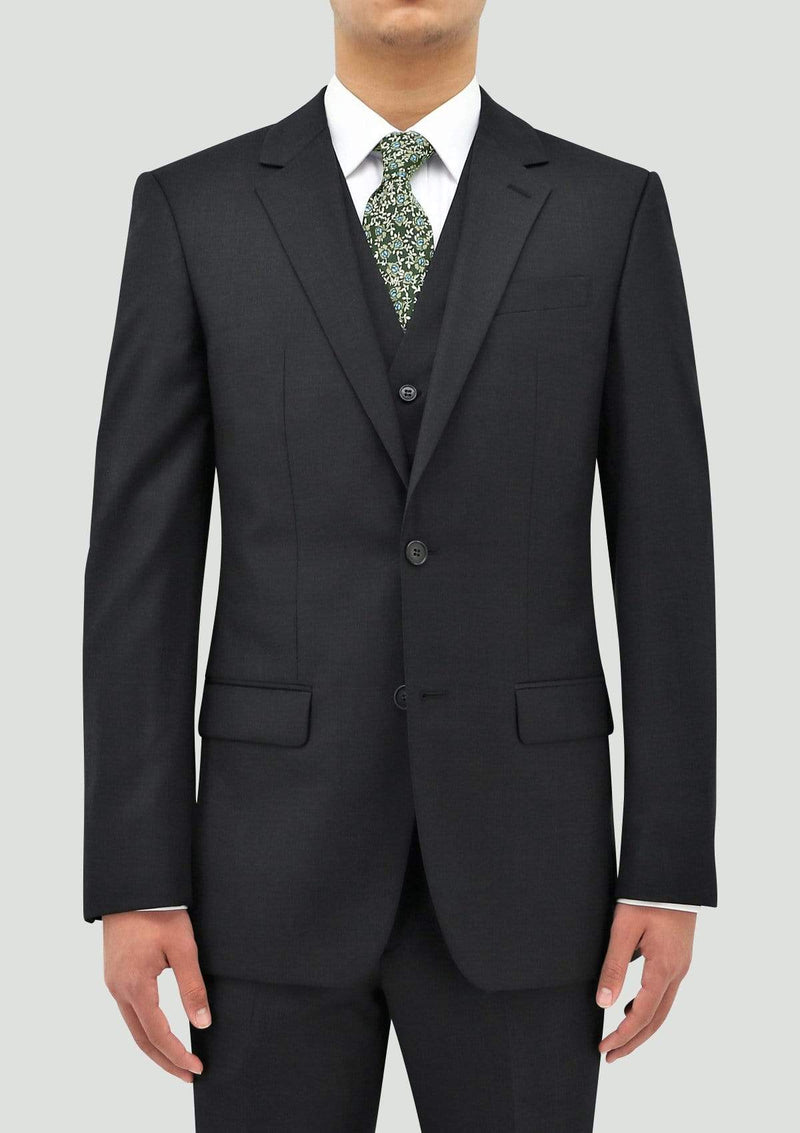 a front view of the daniel hechter slim fit shape mens suit in charcoal pure wool STDH106-02