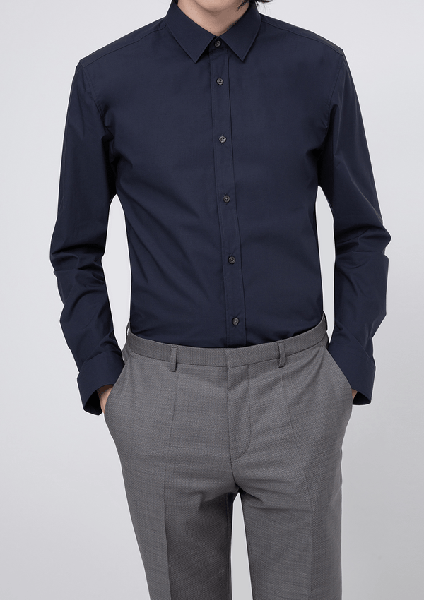 a front view of the Hugo slim fit Elisha mens business shirt in navy pure cotton
