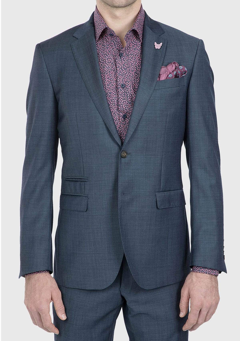 a front view of the gibson slim fit beta mens suit in blue pure wool FG1610