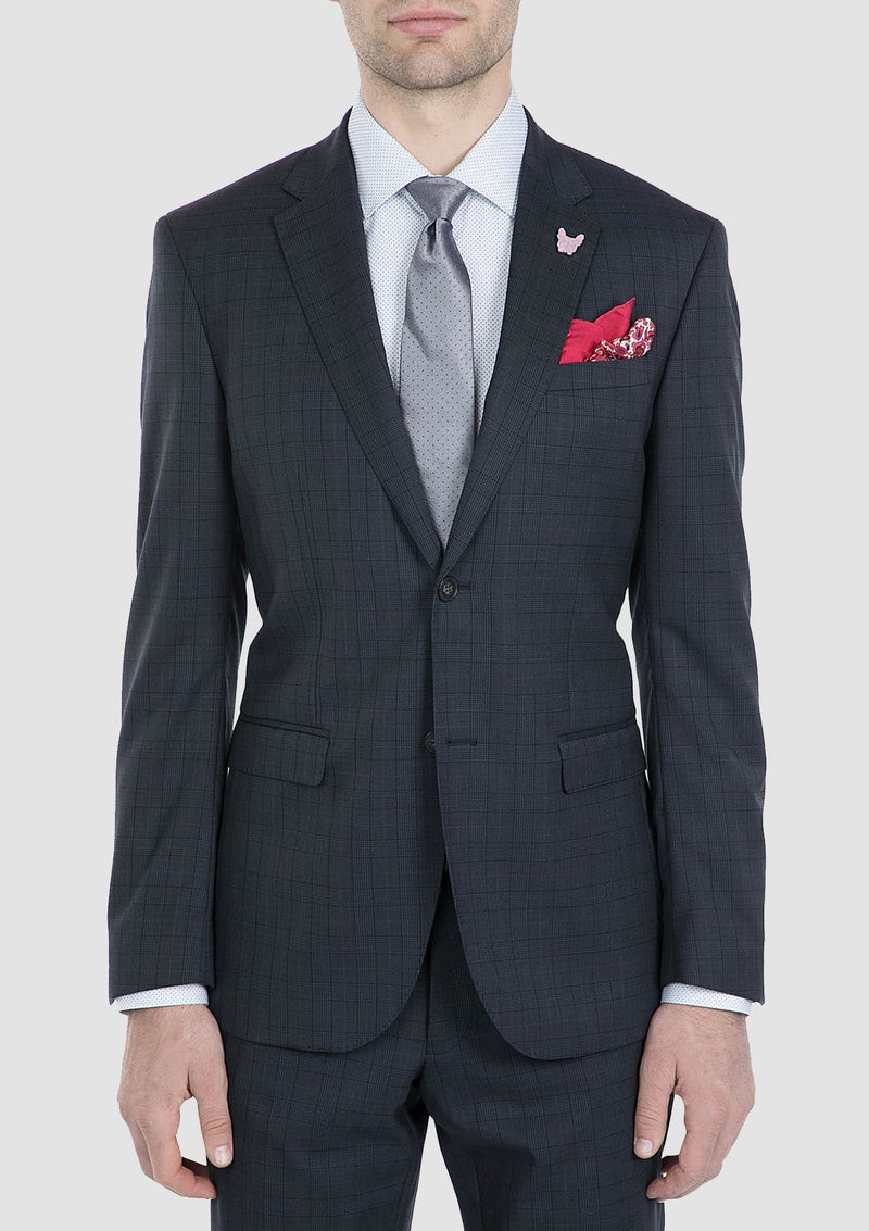 Gibson slim fit nitro suit in dark navy check pure wool