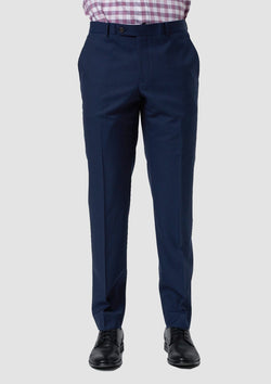 a front view of the slim fit wolf kanat konsul suit trouser in navy pure wool 8WK9017