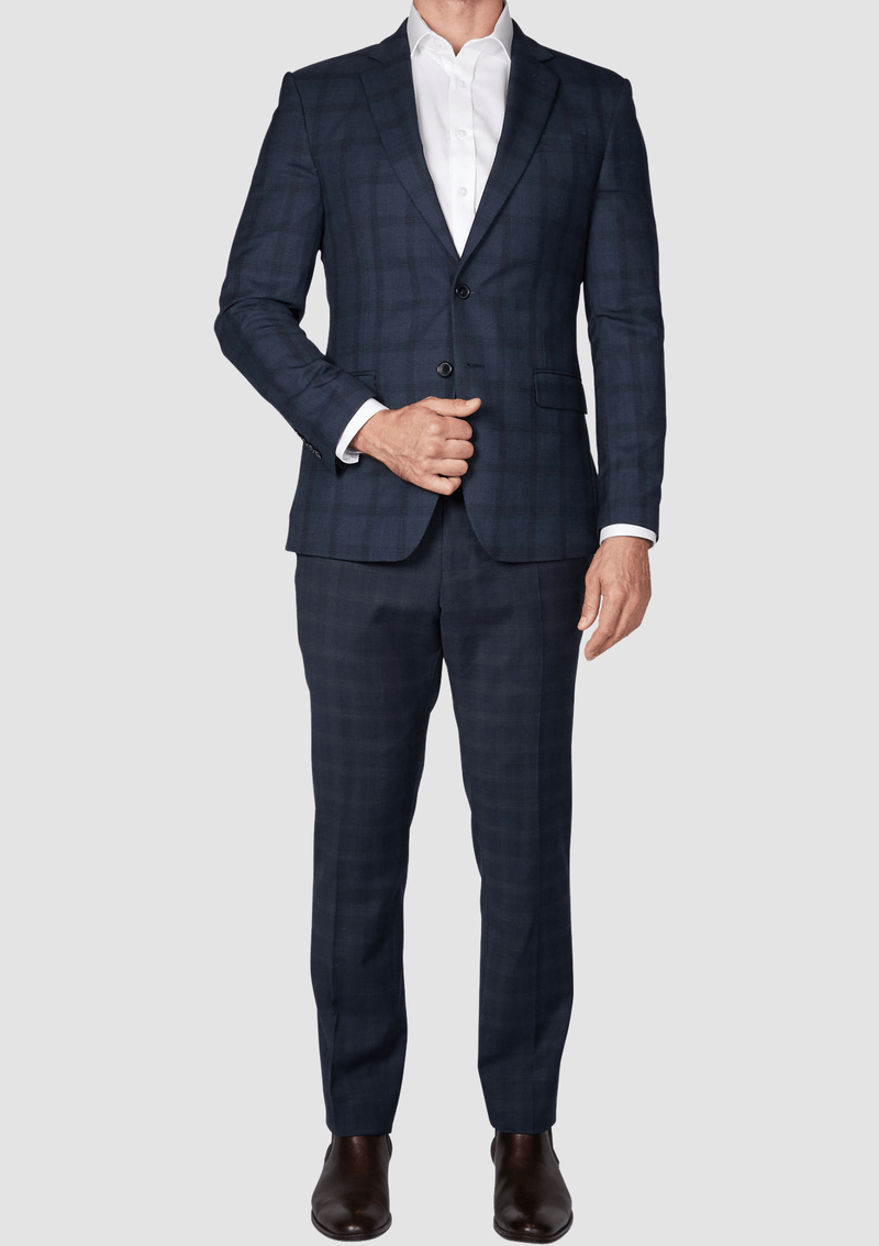 a front view of the slim fit jjeff banks mens suit in charcoal check K1952103