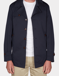 a front view of the slim fit jeff banks mens trench coat in navy K107991094