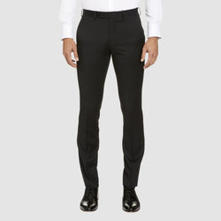 a front view of the studio italia T85 trouser in black merino wool ST-362-11