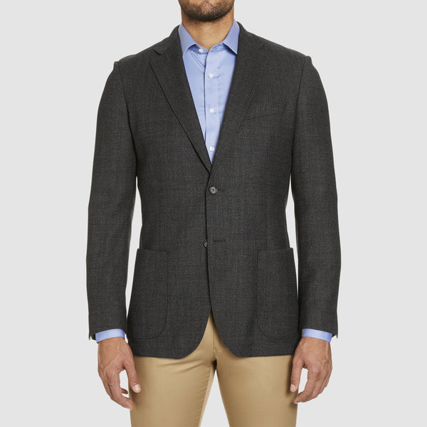 a front view of the studio italia slim fit clive sports jacket in charcoal wool  ST-460-41