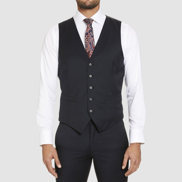 the studio italia slim fit hudson vest in navy merino wool ST-362-11
