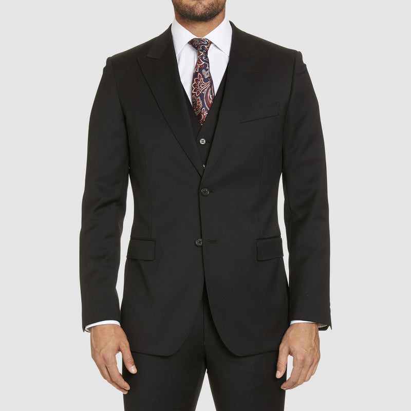 a front view of the studio italia lugano suit in black merino wool ST362-31