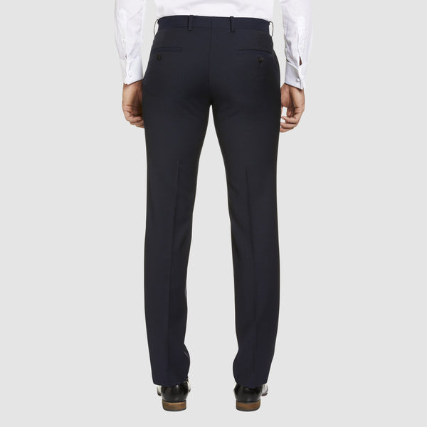a back view of slim fit T93 dinner trouser by studio italia in navy pure wool  ST-380-11