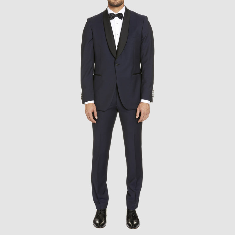 slim fit studio italia prince tuxedo dinner suit in navy wool ST-380-11