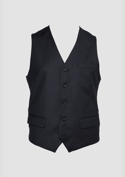 a front view of the autograf mens suit vest in black pure wool by wolf kanat