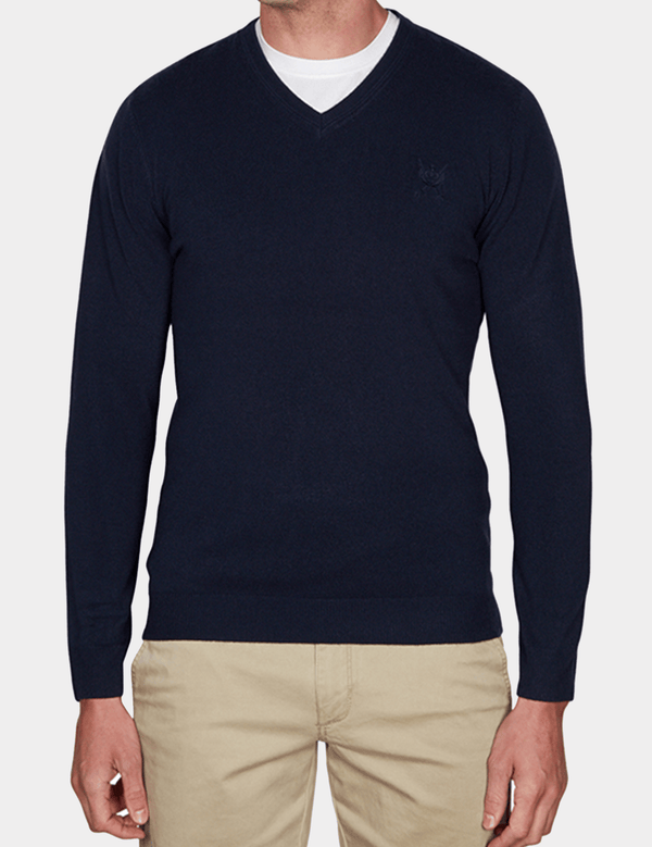 the jeff banks slim fit soft touch v neck knit in navy K103701171