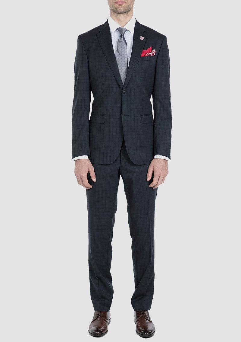 full length view of the gibson slim fit nitro mens suit in navy check pure wool FG1610