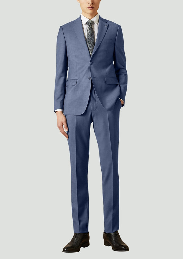 A full length front view of the slim fit ted baker elegan suit in marine blue pure wool 1RL2014