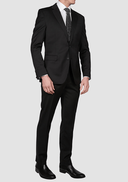 full length view of the back view of the jeff banks slim fit performance mens business suit jacket in black wool lycra blend K386020