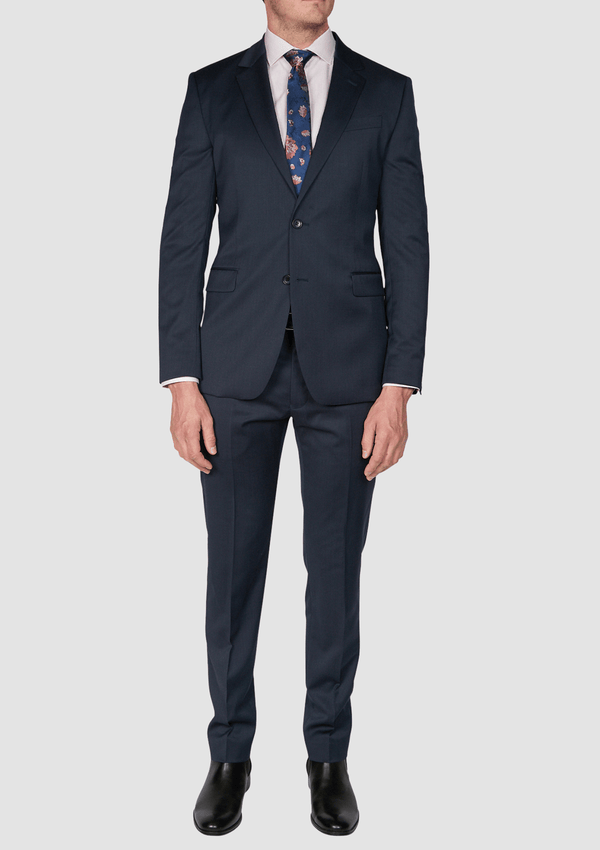 Jeff Banks slim fit ivy league suit in navy wool blend