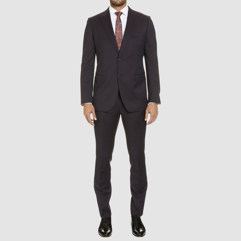 full length view of the studio italia slim fit T85 suit trouser and rowland suit jacket in bugundy merino wool