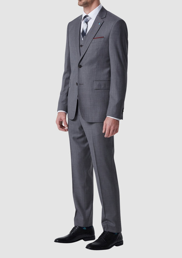 wolf kanat classic fit caviar suit trouser in grey pure wool 1K1704