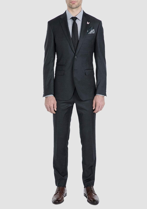the gibson slim fit beta suit in charcoal pure wool FG1614