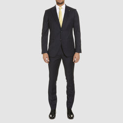 a full length view of the navy pin stripe rowland suit by studio italia ST-472-11