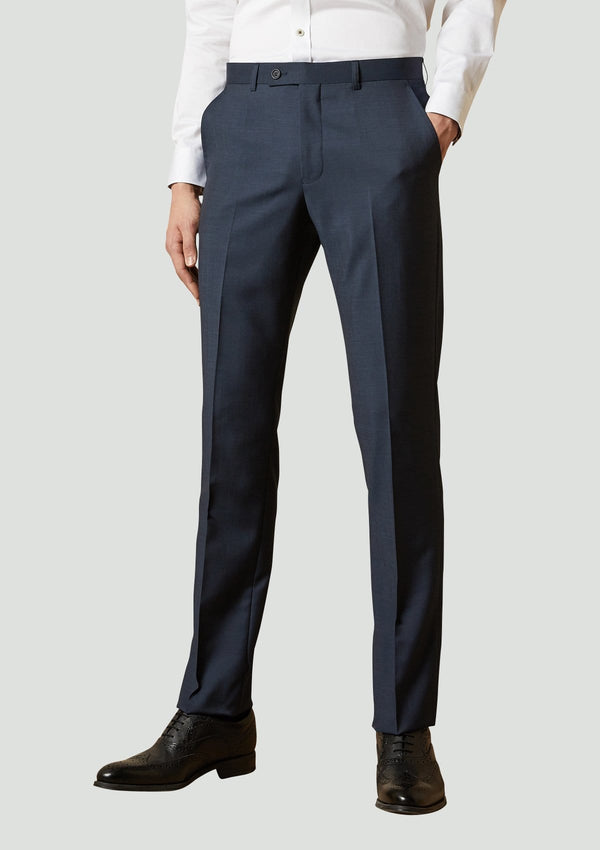 a front view of the Ted Baker slim fit elegan trouser in navy pure wool 1RL2010
