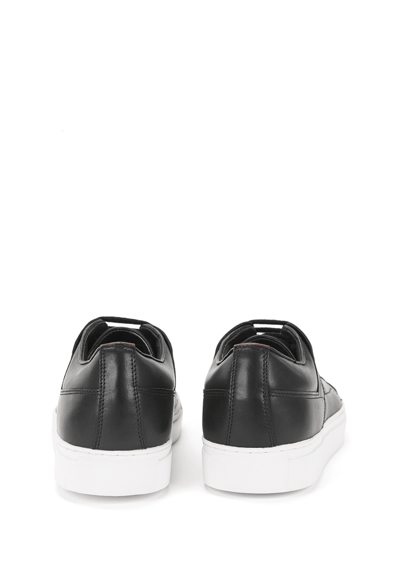 a back view of the hugo boss derby smooth leather shoes in black