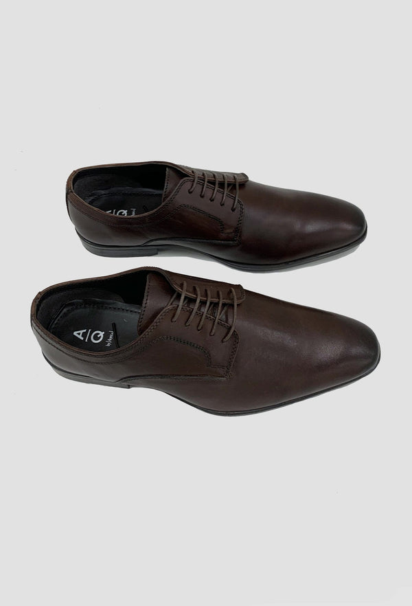 a top view of the aq by Aquila Gawn lace up leather shoes in brown