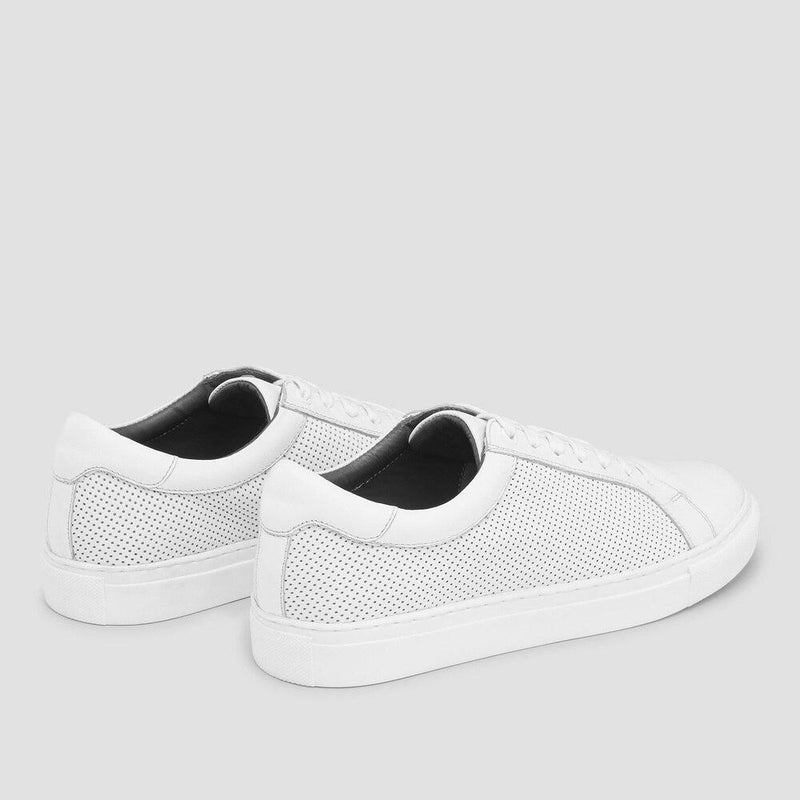 the perfect smart casual sneaker - a side on view of the smith white leather mens sneaker by aquila