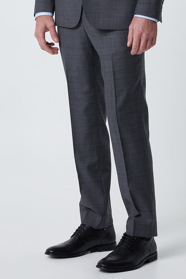 a side view of the wolf kanat regular fit mens suit trouser in grey prnce of wales check 6WK8233