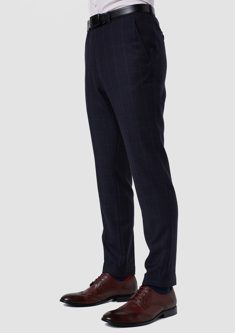 a side view of the wolf kanat slim fit hearts mens suit trouser in navy check pure wool 8WK9009