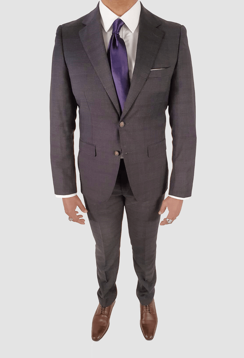 a model wears the hugo pure wool mens suit by aston man melbourne