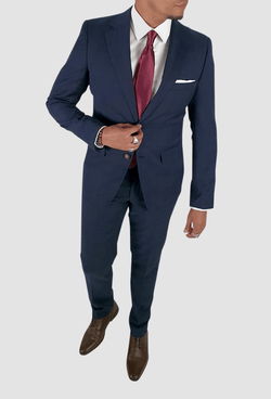 the aston man navy pure wool hugo suit trouser  styled as part of the two piece suit