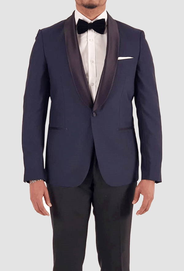 the slim fit aston shaun dinner suit in navy pure wool with a satin shawl lapel