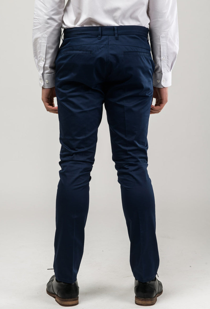 back view of a wearing the aston slim fit cooper chino trouser in navy stretch cotton A177449