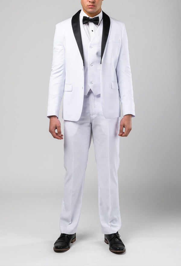 a slim fit white dinner suit with a contrasting removable black label by brand aston man A109301S