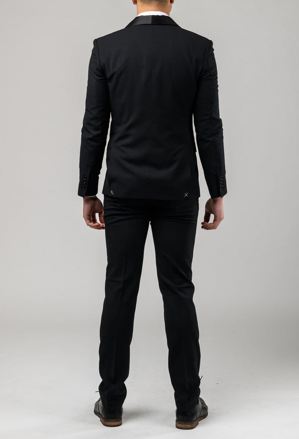 A reverse view of the Aston slim fit laneport suit in black A019301S showing the jacket double vent detail