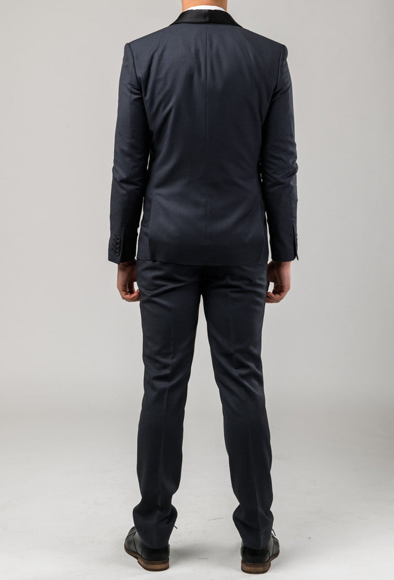 the reverse view of the Aston slim fit laneport suit in charcoal A029301S