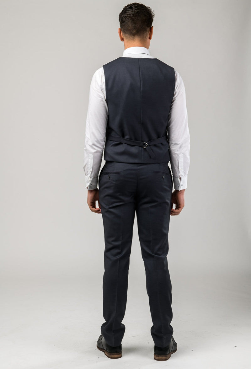 A reverse view of the Aston slim fit laneport vest in charcoal A029301V including the tab adjuster detail on the reverse