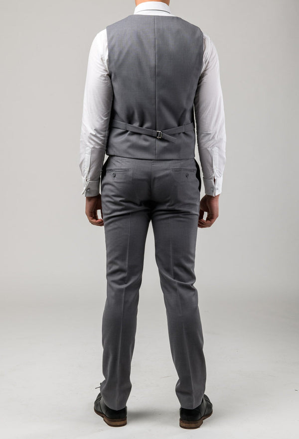 A reverse view of the Aston slim fit laneport vest in grey A039301V
