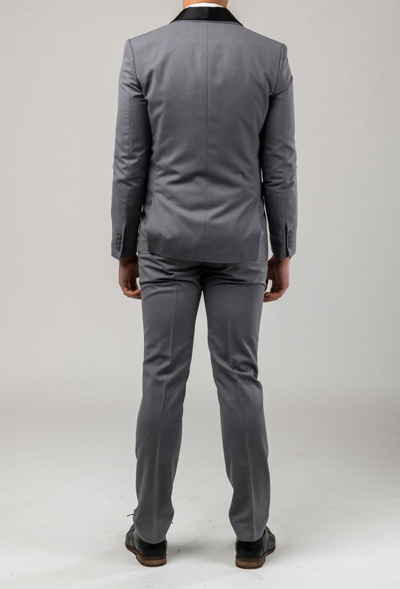 A back view of the Aston slim fit laneport suit in grey A039301S including the side vent detail of the jacket