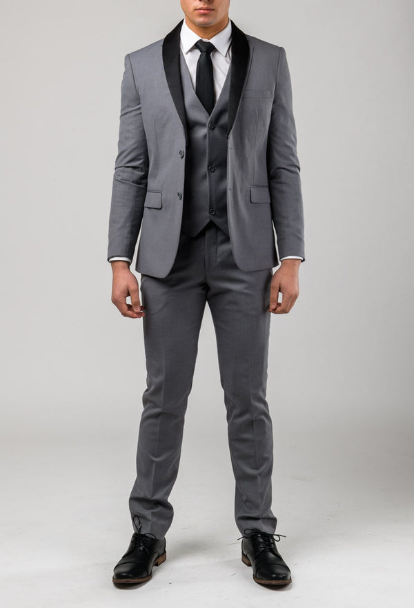 a front view of the Aston slim fit laneport trouser in grey A039301T