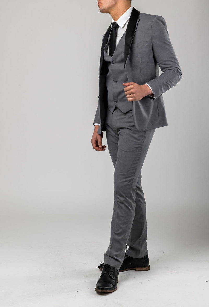 A side on view of the Aston slim fit laneport suit in grey A039301S
