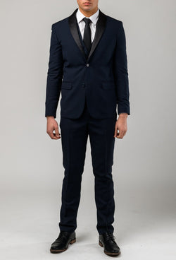 A full length view of the aston slim fit laneport suit in navy A049301S styled with a white shirt and a black tie
