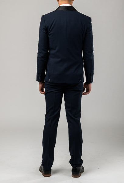 a reverse view of the jacket and trouser in the Aston slim fit laneport suit in navy A049301S