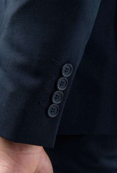 The four button sleeve detail of the Aston slim fit laneport suit jacket in navy A049301S
