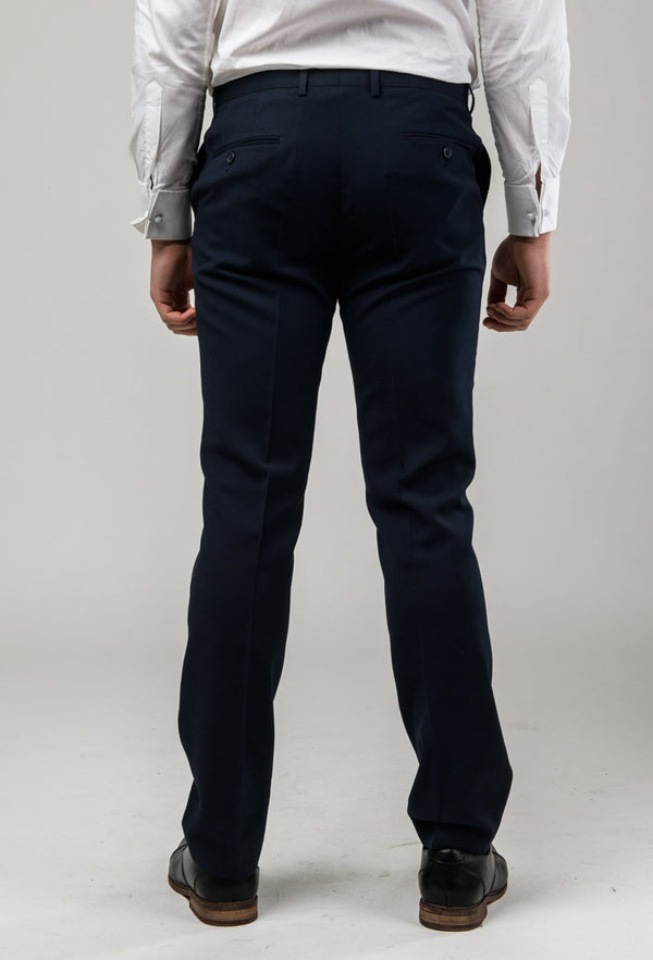 A back view of the Aston slim fit laneport trouser in navy A049301T